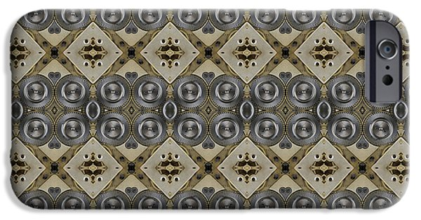 Copy Machine Digital Art iPhone Cases - Mechanical Gears Pattern Background iPhone Case by Nenad  Cerovic