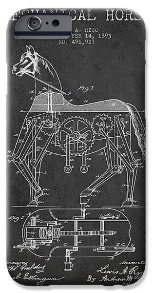 Horse Digital Art iPhone Cases - Mechanical Horse Patent Drawing From 1893 - Dark iPhone Case by Aged Pixel