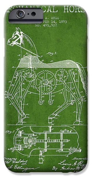 Horse Digital Art iPhone Cases - Mechanical Horse Patent Drawing From 1893 - Green iPhone Case by Aged Pixel