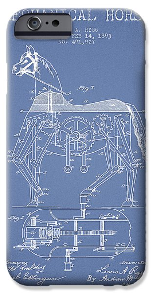 Horse Digital Art iPhone Cases - Mechanical Horse Patent Drawing From 1893 - Light Blue iPhone Case by Aged Pixel