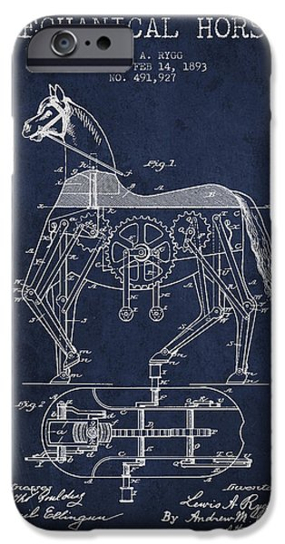 Horse Digital Art iPhone Cases - Mechanical Horse Patent Drawing From 1893 - Navy Blue iPhone Case by Aged Pixel