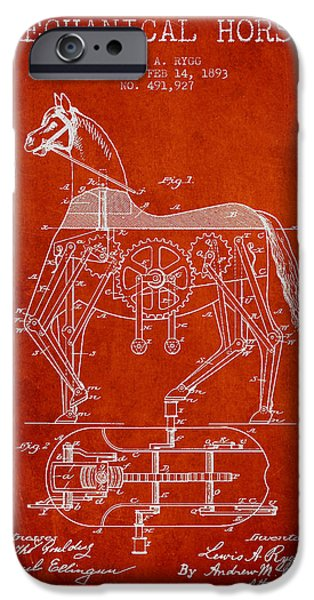 Horse Digital Art iPhone Cases - Mechanical Horse Patent Drawing From 1893 - Red iPhone Case by Aged Pixel