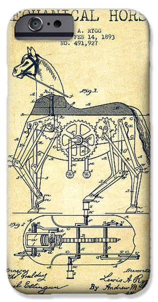 Horse Digital Art iPhone Cases - Mechanical Horse Patent Drawing From 1893 - Vintage iPhone Case by Aged Pixel