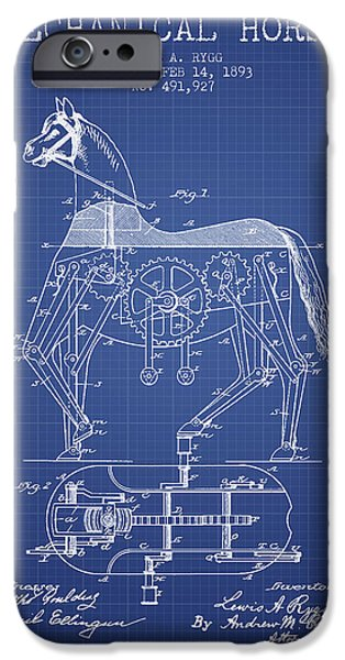 Horse Digital Art iPhone Cases - Mechanical Horse Patent From 1893- Blueprint iPhone Case by Aged Pixel