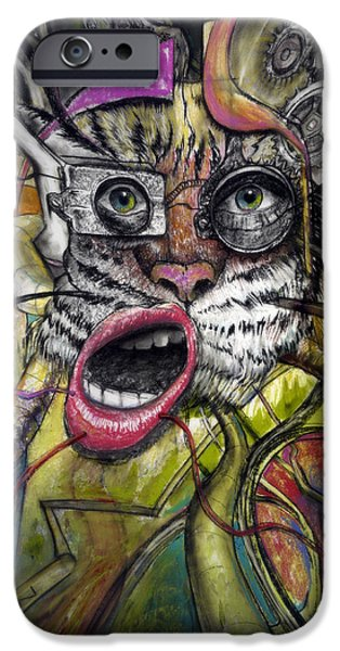 Hip-hop iPhone Cases - Mechanical Tiger Girl iPhone Case by Frank Robert Dixon