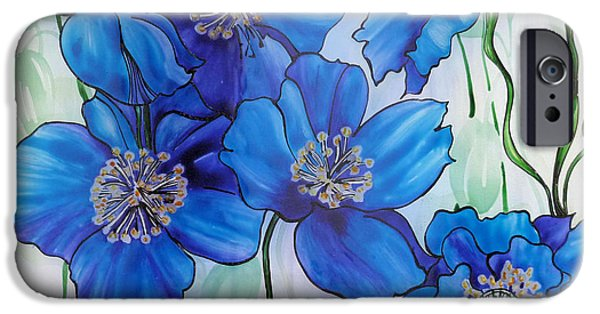 Florals Glass Art iPhone Cases - Meconopsis iPhone Case by Sharon Cox