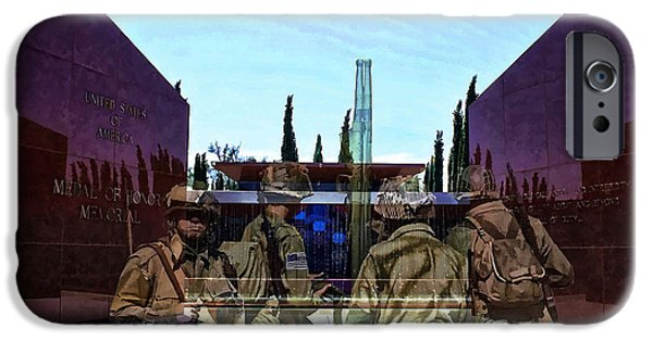 Soldiers National Cemetery Digital iPhone Cases - Medal of Honor Memorial Revisited iPhone Case by Tommy Anderson