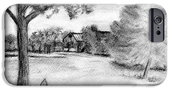 Recently Sold -  - Shed Drawings iPhone Cases - Medford Farm iPhone Case by Sheila Mashaw