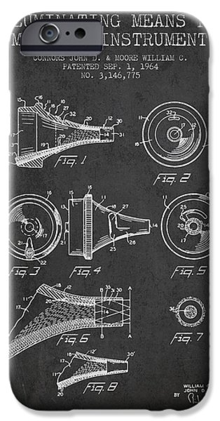 Medical Instrument iPhone Cases - Medical Instrument Patent from 1964 - Dark iPhone Case by Aged Pixel