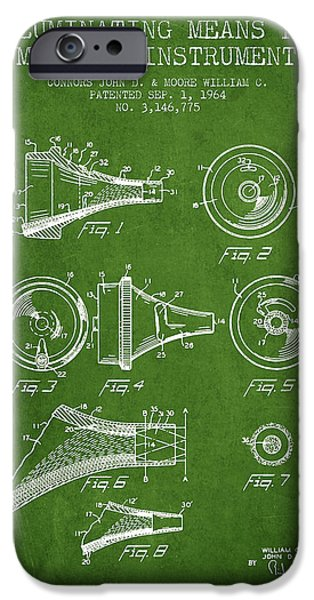 Medical Instrument iPhone Cases - Medical Instrument Patent from 1964 - Green iPhone Case by Aged Pixel