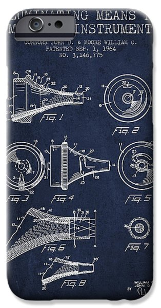 Medical Instrument iPhone Cases - Medical Instrument Patent from 1964 - Navy Blue iPhone Case by Aged Pixel