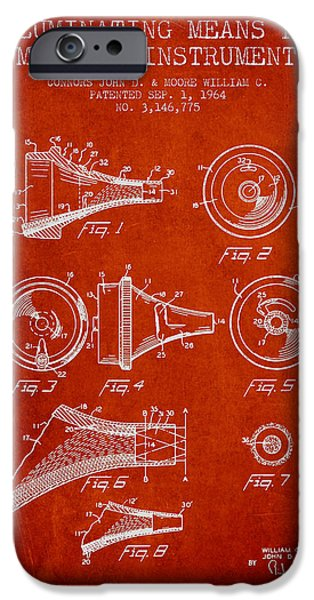 Medical Instrument iPhone Cases - Medical Instrument Patent from 1964 - Red iPhone Case by Aged Pixel