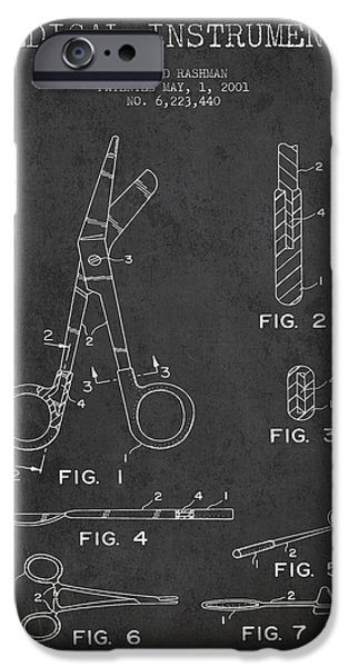 Medical Instrument iPhone Cases - Medical Instruments Patent from 2001 - Dark iPhone Case by Aged Pixel