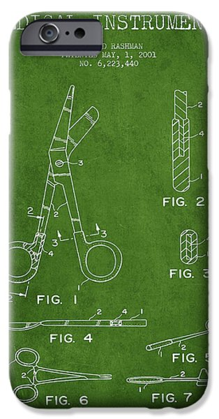 Medical Instrument iPhone Cases - Medical Instruments Patent from 2001 - Green iPhone Case by Aged Pixel