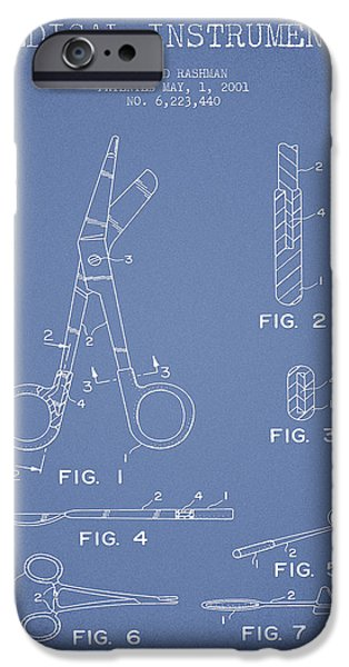 Hospital iPhone Cases - Medical Instruments Patent from 2001 - Light Blue iPhone Case by Aged Pixel