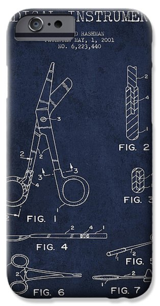 Medical Instrument iPhone Cases - Medical Instruments Patent from 2001 - Navy Blue iPhone Case by Aged Pixel