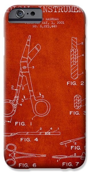Medical Instrument iPhone Cases - Medical Instruments Patent from 2001 - Red iPhone Case by Aged Pixel