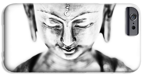Medicine iPhone Cases - Medicine Buddha Monochrome iPhone Case by Tim Gainey