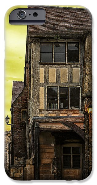 Village Pyrography iPhone Cases - Medieval Alley iPhone Case by Gabriela Wernicke-Marfo
