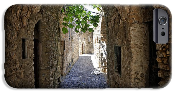 Mesta iPhone Cases - Medieval cobblestone lane. Mesta. Chios. Greece. iPhone Case by Steven Sklifas