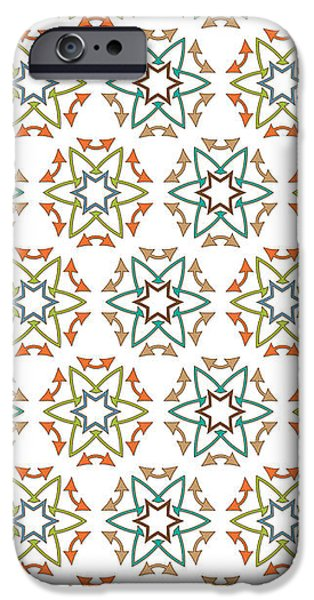 Concept Tapestries - Textiles iPhone Cases - Medieval Fabric Arrows Flowers iPhone Case by Jozef Jankola