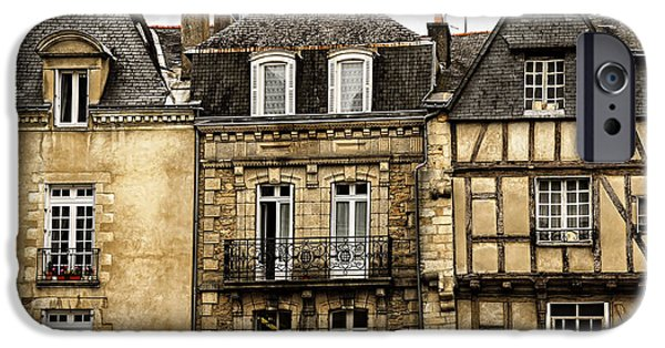 Old Towns iPhone Cases - Medieval houses in Vannes iPhone Case by Elena Elisseeva