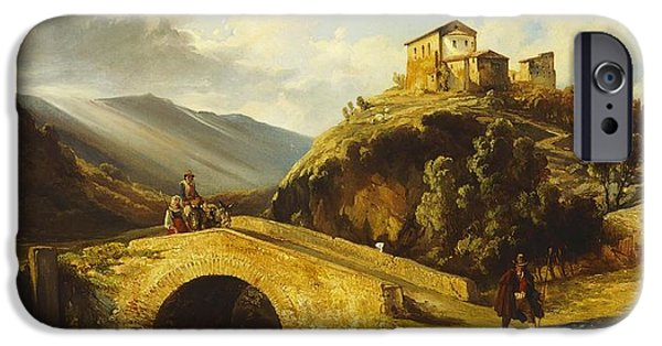 19th Century iPhone Cases - Medieval Landscape iPhone Case by Gonsalvo Carelli