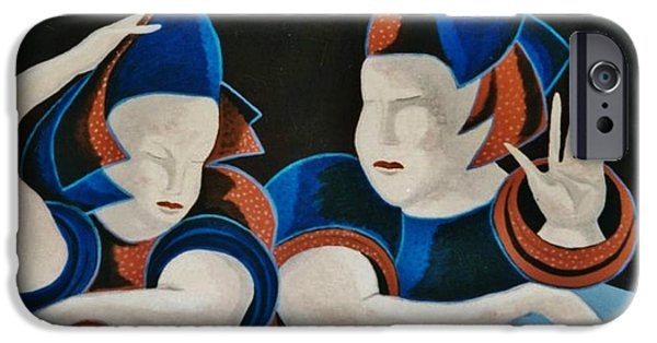 Paiting iPhone Cases - Medieval Peasant Women iPhone Case by Bozena Simeth