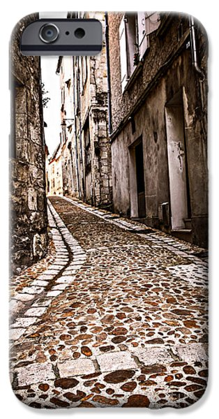 Historic Buildings iPhone Cases - Medieval street in France iPhone Case by Elena Elisseeva