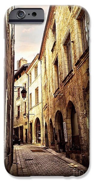 Historic Buildings iPhone Cases - Medieval street in Perigueux iPhone Case by Elena Elisseeva