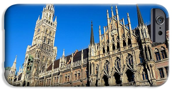 Marienplatz iPhone Cases - Medieval Town Hall building Munich Germany iPhone Case by Imran Ahmed