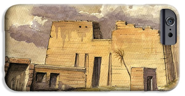 Ruin iPhone Cases - Medinet temple Egypt iPhone Case by Juan  Bosco