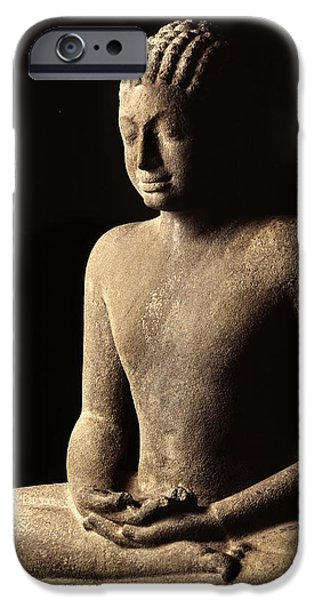 Buddhism Photographs iPhone Cases - Meditating Buddha, Davaravati Period Stone iPhone Case by Thai School