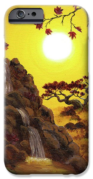 Buddhism Paintings iPhone Cases - Meditating by a Golden Waterfall iPhone Case by Laura Iverson