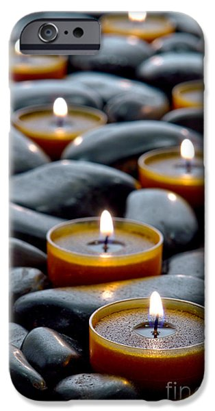 Religious iPhone Cases - Meditation Candles iPhone Case by Olivier Le Queinec