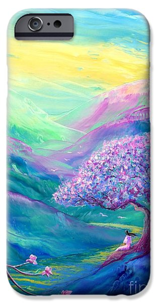 Healing Paintings iPhone Cases - Meditation in Mauve iPhone Case by Jane Small