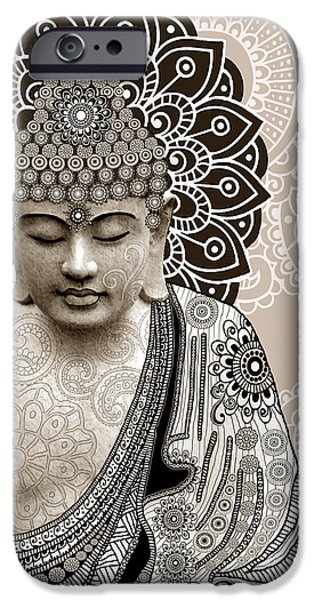 Ancient iPhone Cases - Meditation Mehndi - Paisley Buddha Artwork - copyrighted iPhone Case by Christopher Beikmann