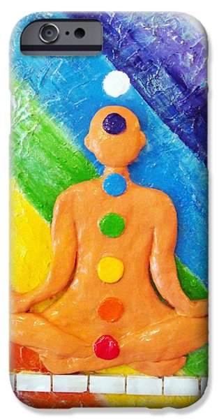 Meditation Sculptures iPhone Cases - Meditation iPhone Case by Raya Finkelson