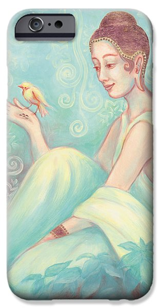 Conscious Paintings iPhone Cases - Meditation With Bird iPhone Case by Judith Grzimek
