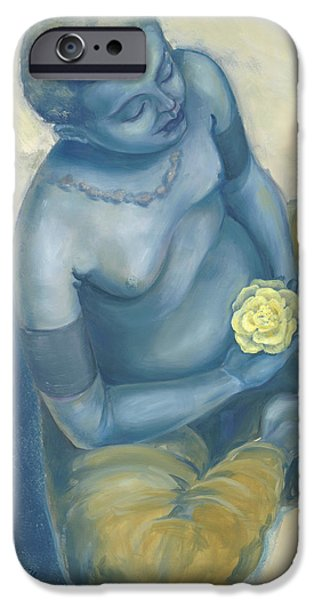 Meditation With Flower iPhone Case by Judith Grzimek