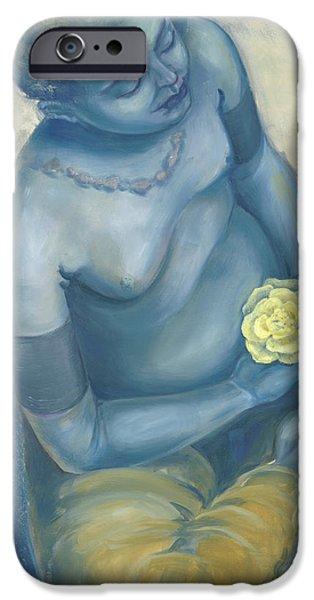 Meditation With Flower iPhone Case by Judith Grzimek