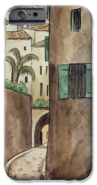 Village Drawings iPhone Cases - Mediterranean Street and Houses iPhone Case by Louis Robert Antral