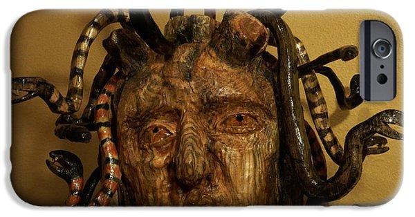 Snake Sculptures iPhone Cases - Medusa iPhone Case by John Sekela