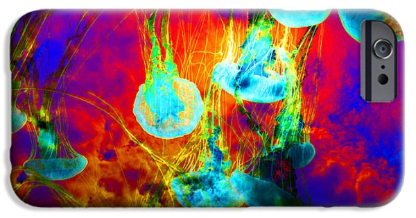 Jelly Fish iPhone Cases - Medusas On Fire 5D24939 square iPhone Case by Wingsdomain Art and Photography