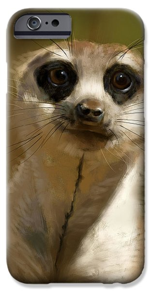 Meerkat Digital Art iPhone Cases - Meerkat Guardian iPhone Case by Arie Van der Wijst