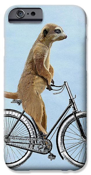 Meerkat Digital Art iPhone Cases - Meerkat on a Bicycle iPhone Case by Loopylolly
