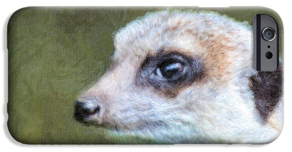 Meerkat Digital Art iPhone Cases - Meerkat portrait Suricata suricatta iPhone Case by Liz Leyden