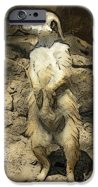 Meerkat Digital Art iPhone Cases - Meerkat Too iPhone Case by Deborah Boyd