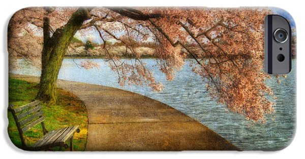 Lois Bryan Digital iPhone Cases - Meet Me At Our Bench iPhone Case by Lois Bryan