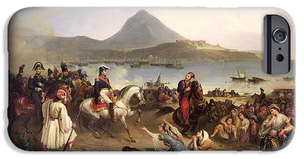 Liberation iPhone Cases - Meeting Between General Nicolas Joseph Maison 1771-1840 And Ibrahim Pasha 1789-1848 At Navarino iPhone Case by Jean Charles Langlois